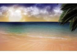 85598,地球,海洋,艺术的,水,云,海滩,壁纸图片