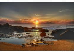 22040,地球,日落,海洋,海滩,壁纸图片