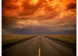 77091,地球,风景,路,天空,橙色的,领域,云,壁纸图片