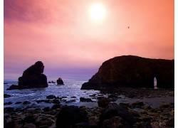 85726,地球,日出,摄影,风景,地平线,海洋,海,海滩,海岸线,岸,岩石图片