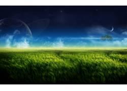78734,地球,A,轻柔的,世界,草,领域,行星,云,壁纸图片