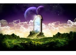 86781,地球,A,轻柔的,世界,幻想,大门,魔法,风景,明星,云,壁纸图片