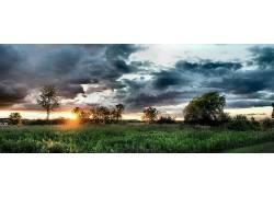 23714,地球,风景,领域,树,日落,日出,壁纸图片