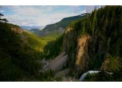 79466,地球,山,山脉,山谷,树,森林,绿色的,风景,溪流,壁纸图片