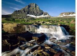 29486,地球,瀑布,瀑布,冰川,国家的,公园,蒙大拿州,壁纸图片