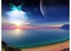 87329,地球,A,轻柔的,世界,海洋,幻想,海滩,海,太阳,行星,壁纸图片
