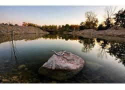 87494,地球,湖,湖,水,岩石,反射,自然,植物,壁纸图片