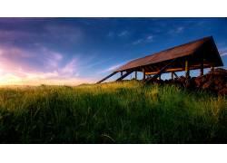 87549,地球,风景,摄影,天空,屋顶,房子,建筑物,木材,原木,草,领域
