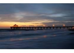 80420,地球,海洋,摄影,风景,桥墩,灯光,日落,地平线,海滩,壁纸