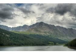 80426,地球,山,山脉,摄影,风景,河,云,雨,树,森林,壁纸