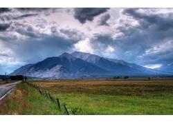 80428,地球,风景,摄影,山,天空,云,路,栅栏,领域,壁纸图片