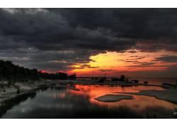 68033,地球,日落,风景,云,天空,湖,冬天的,壁纸图片