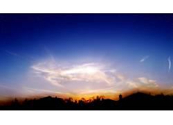 80494,地球,日落,摄影,风景,地平线,天空,明星,云,手掌,树,房子,图片