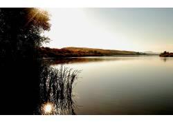 88220,地球,湖,湖,风景,摄影,天空,荒地,小山,水,反射,布什,草,阳