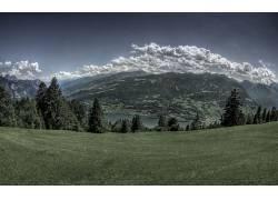 69603,地球,领域,树,湖,河,水,风景,风景优美的,草,山,绿色的,云,图片
