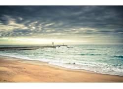 89338,地球,海滩,风景,风景优美的,海洋,海,云,岸,海岸线,灯塔,壁图片