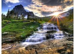 83097,地球,瀑布,瀑布,太阳,山,日出,溪流,自然,石头,壁纸