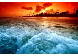 114904,地球,日落,波浪,梦,海滩,壁纸