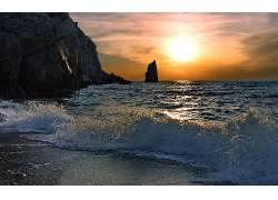 115550,地球,海洋,海滩,波浪,日落,地平线,壁纸图片