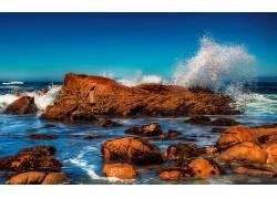 111933,地球,波浪,3D,海洋,海,岩石,壁纸