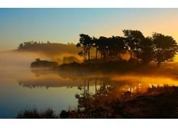 111207,地球,风景优美的,海,水,湖,雾,海洋,树,森林,壁纸图片