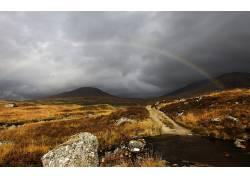 111651,地球,彩虹,风景,领域,草,小山,小路,壁纸