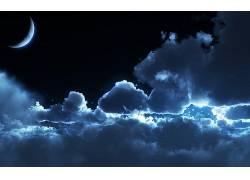 112234,地球,天空,夜晚,月球,云,壁纸