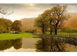 112350,地球,风景,房子,池塘,树,反射,壁纸图片