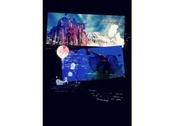 水彩喷溅海报模板图片