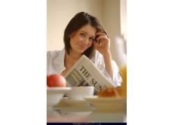 人,Peta Todd,报纸,美女,微笑,模特,看着观众58264
