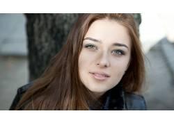 人,阿德里安娜莫里斯,看着观众,长发,美女,模特,肖像,面对,皮夹克