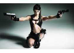 人,艾莉森卡罗尔,劳拉克罗夫特,角色扮演,枪,黑发,服装,美女,分裂