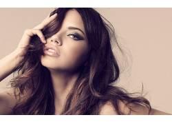 人,阿德里安娜利马,模特,简单的背景,维多利亚的秘密,黑发,美女,