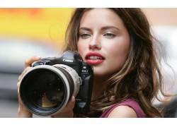 人,阿德里安娜利马,相机,教规,摄影,口红,嘴唇,镜片,美女,眼睛,长