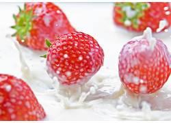 食物,草莓,水果,水果,浆果,牛奶,壁纸