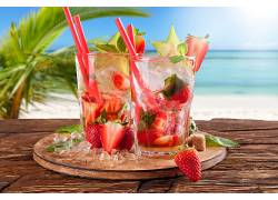 食物,鸡尾酒,喝酒,玻璃,草莓,夏天,冰,立方,快活的,壁纸