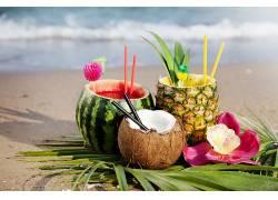 食物,鸡尾酒,夏天,海滩,椰子,菠萝,西瓜,壁纸