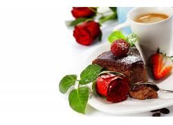 食物,早餐,蛋糕,玫瑰,咖啡,仍然,生活,壁纸
