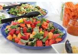食物,水果,水果,盘子,草莓,甜瓜,蓝莓,胡萝卜,西瓜,壁纸