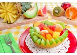 食物,水果,水果,菠萝,猕猴桃,橙色的,甜瓜,壁纸