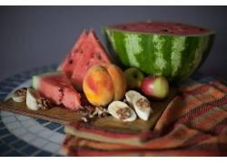 食物,水果,水果,西瓜,桃子,苹果,香蕉,壁纸