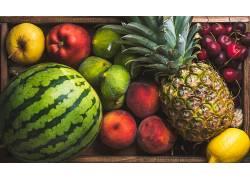 食物,水果,水果,西瓜,菠萝,桃子,樱桃,苹果,柠檬,壁纸