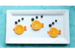 食物,仍然,生活,水果,鱼,蓝莓,盘子,橙色的,壁纸