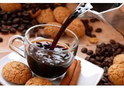食物,咖啡,杯子,肉桂色,咖啡,豆子,饼干,壁纸