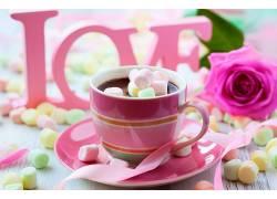 食物,喝酒,棉花糖,巧克力,杯子,浪漫的,玫瑰,壁纸