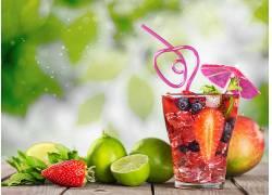 食物,喝酒,玻璃,稻草,草莓,石灰,壁纸