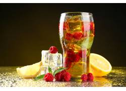 食物,喝酒,玻璃,覆盆子,水果,冰,立方,柠檬,壁纸