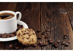 808494,食物,咖啡,杯子,饼干,咖啡,豆子,壁纸