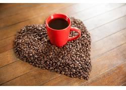801364,食物,咖啡,杯子,咖啡,豆子,心形的,壁纸