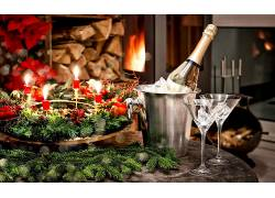 777968,食物,香槟酒,壁炉,玻璃,节日,新建,年,壁纸